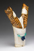 Cat Holding Fish Antler Sculpture