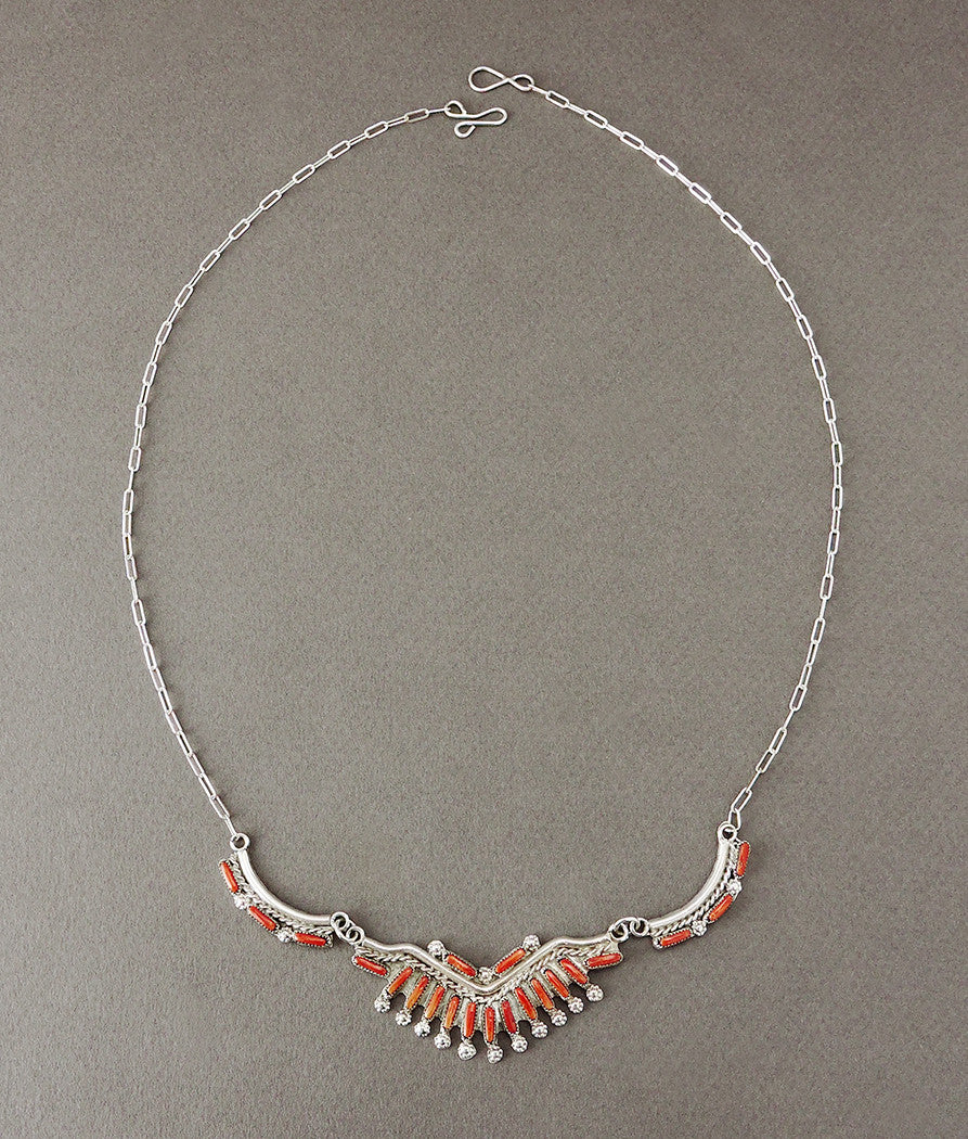 Red Coral Petit Point Necklace