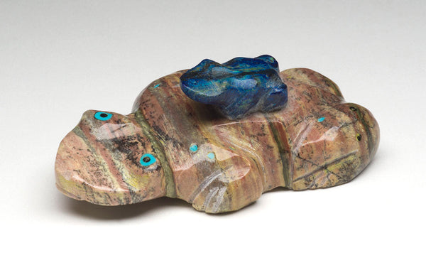 Watermelon Serpentine & Azurite Amphibian Pair