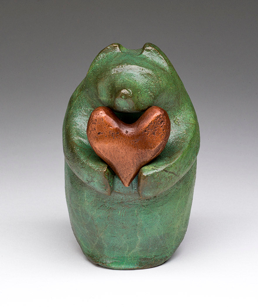 Bronze Bear With Removable Heart Offering