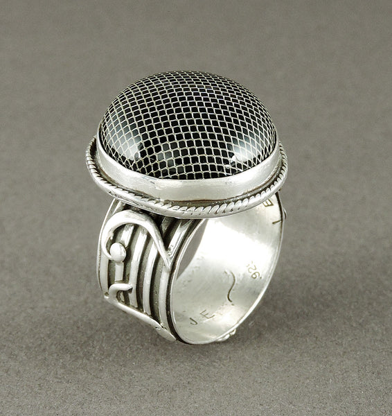 Collaborative Sterling Silver, 18K Gold & Onyx Microphone Ring