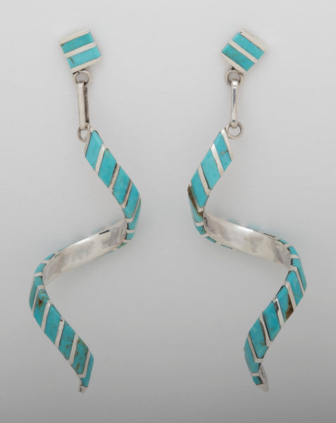Kingman Turquoise & Sterling Silver Spiral Earrings