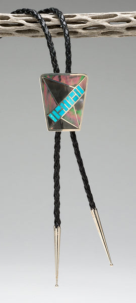 Inlaid Black Lip Shell & Sleeping Beauty Turquoise Unisex Bolo Tie