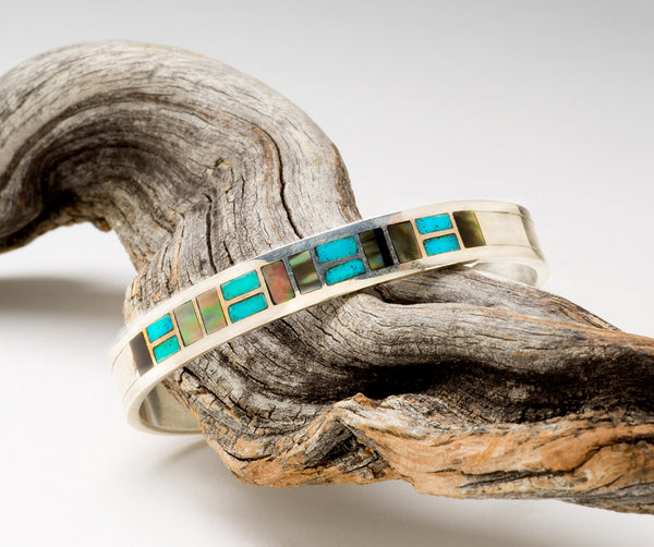 Vibrant Turquoise & Watery Black Lip Shell Inlaid Cuff Bracelet