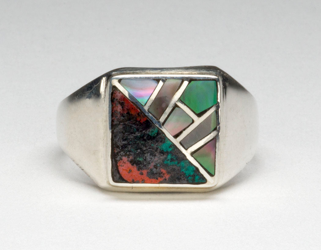 Iridescent Black Lip Shell & Bold Cuprite Channel Inlaid Ring