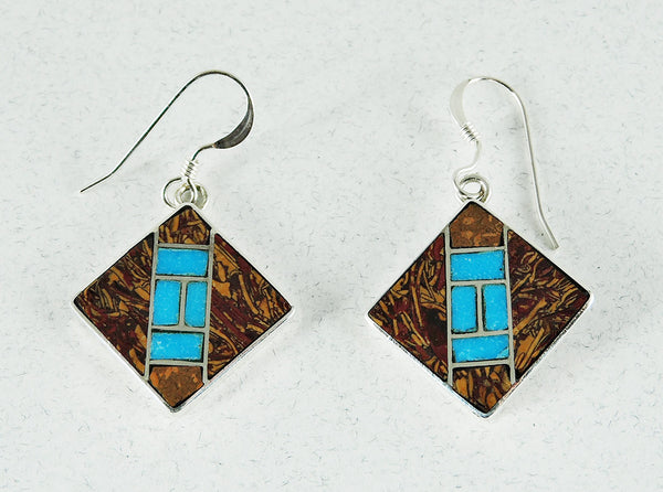 Sterling Silver, Fossilized Jasper & Turquoise Inlaid Earrings
