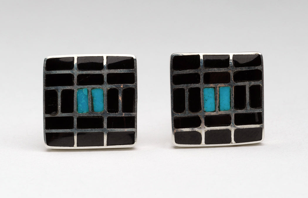 Sterling Silver & Acoma Jet Inlaid Cuff Links