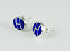 Sterling Silver & Lovely Lapis Inlaid Earrings