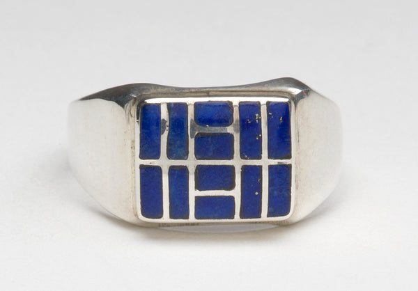Sterling Silver & Lapis Lazuli Channel Inlay Ring