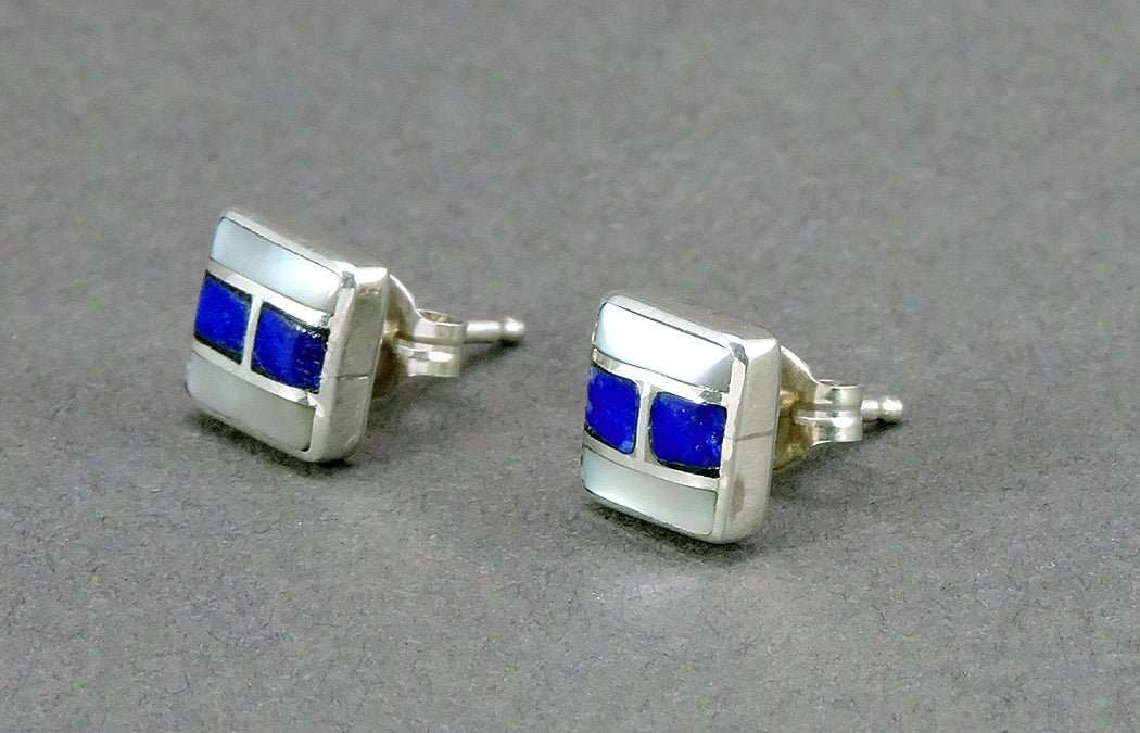 Inlaid Abalone & Lapis Earrings