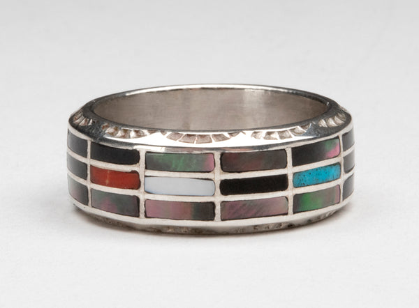 Many Materials Inlaid Ring