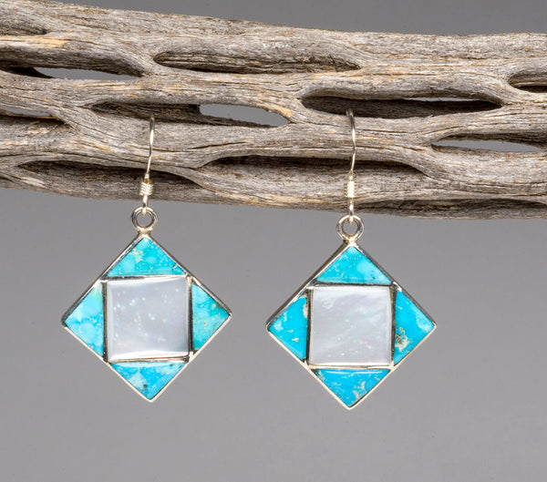 Turquoise and Mother Of Pearl Shell Earrings