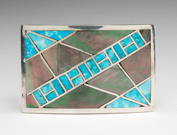 Kingman Turquoise & Black Lip Shell Inlaid Unisex Belt Buckle
