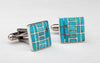 Sterling Silver & Kingman Turquoise Inlaid Cuff Links
