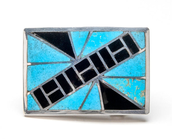 Kingman Turquoise & Jet Inlaid Belt Buckle