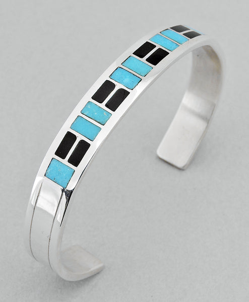 Sterling Silver Cuff Bracelet with Jet and Turquoise Inlay