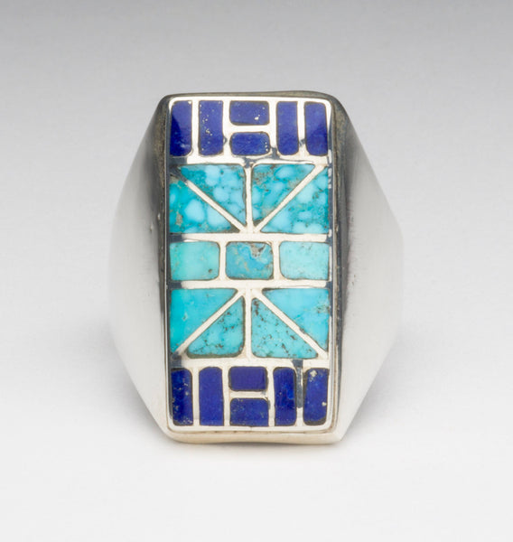 Kingman Turquoise & Lapis Lazuli Channel Inlaid Ring