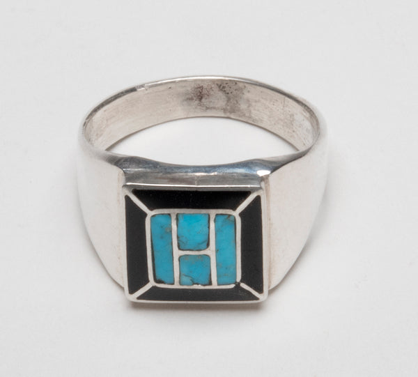 Sterling Silver, Kingman Turquoise & Jet Inlaid Ring