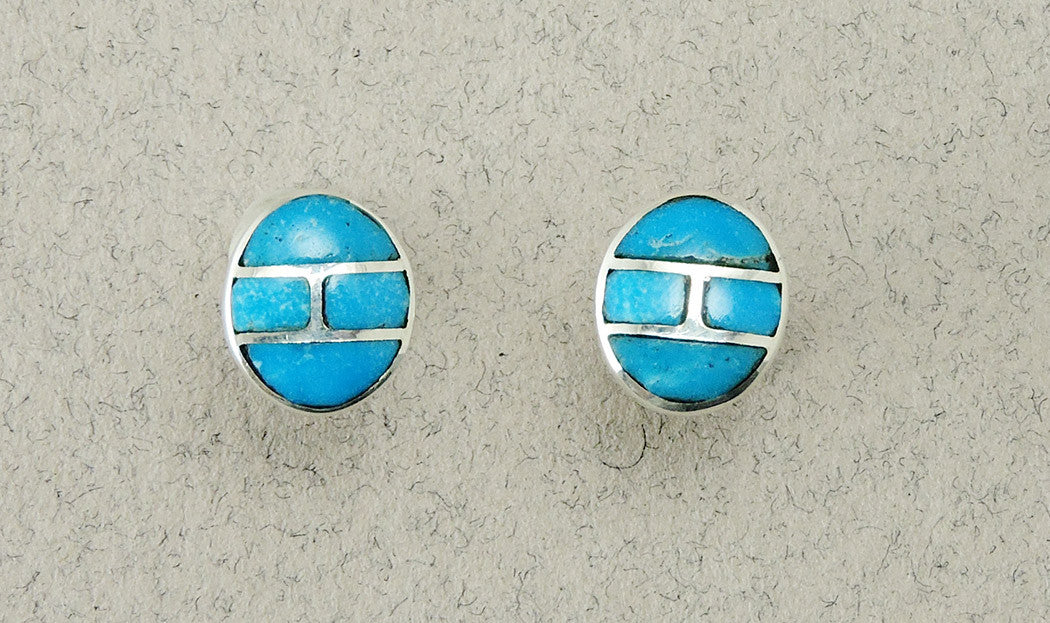 Sleeping Beauty Turquoise & Sterling Silver Inlaid Earrings