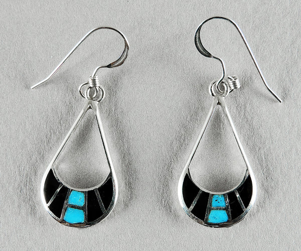 Sterling Silver, Jet & Sleeping Beauty Turquoise Inlaid Earrings