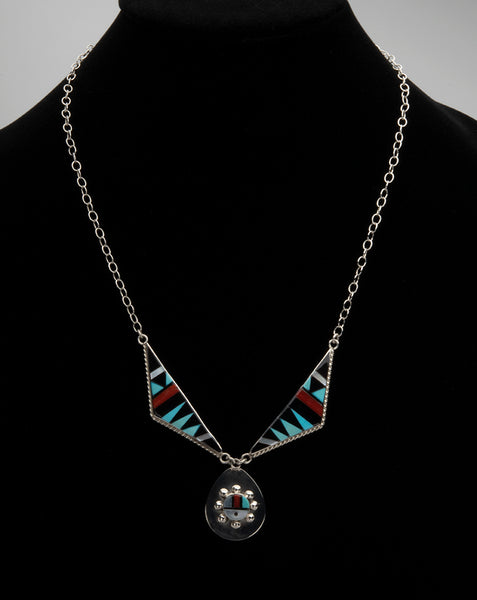 Multi-Material Inlaid Sunface Necklace