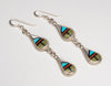 Inlaid Dangle Teardrop Earrings