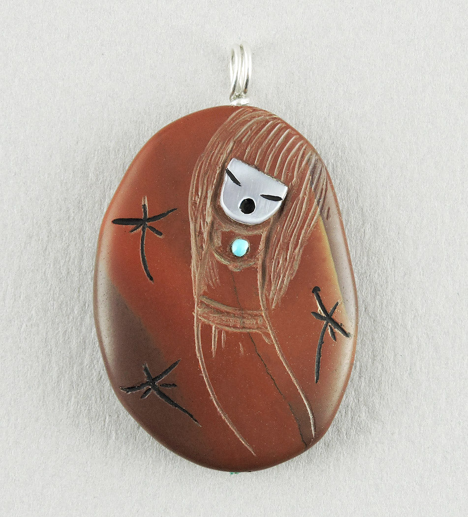 Reversible Corn Maiden & Grandmother Pendant Of Red Jasper