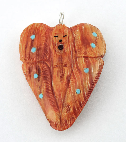 Reversible Orange Spiny Oyster Shell Butterfly Pendant