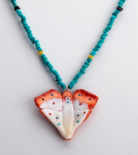 Reversible Spiny Oyster Shell Butterfly Maiden Pendant Necklace