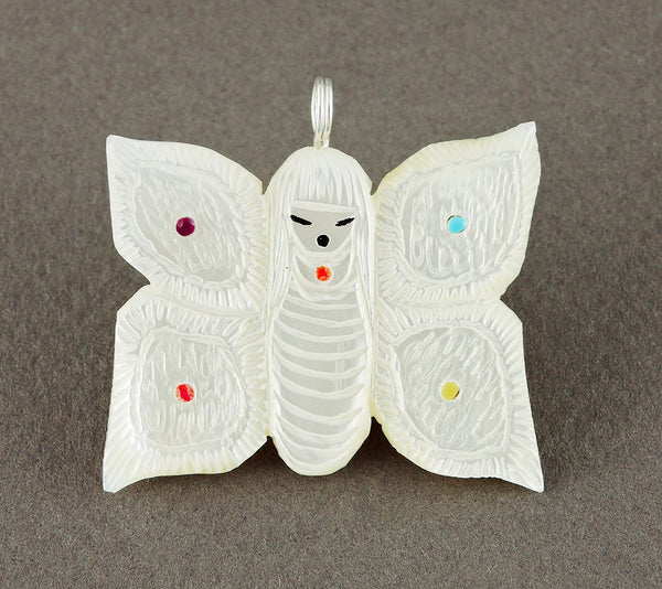 Reversible Butterfly Maiden Pendant Of Mother-Of-Pearl