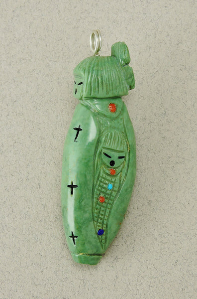 Reversible Grandmother & Corn Maiden Pendant Of Green Turquoise