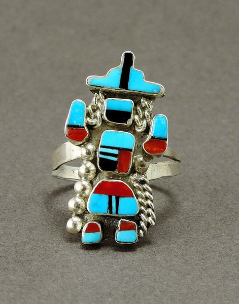 Knifewing Ring Of Sterling Silver, Turquoise, Red Coral & Jet