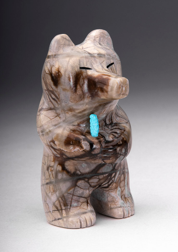 Standing Bear With Turquoise Corn Offering
