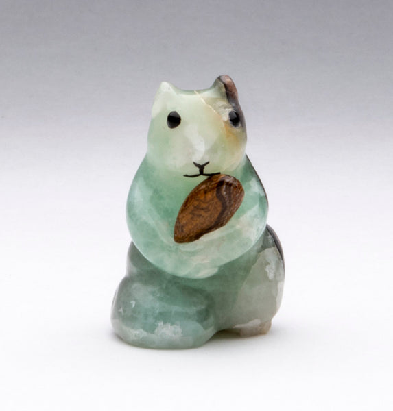 A Green Calcite Squirrel (or Chipmunk) With An Onyx Almond