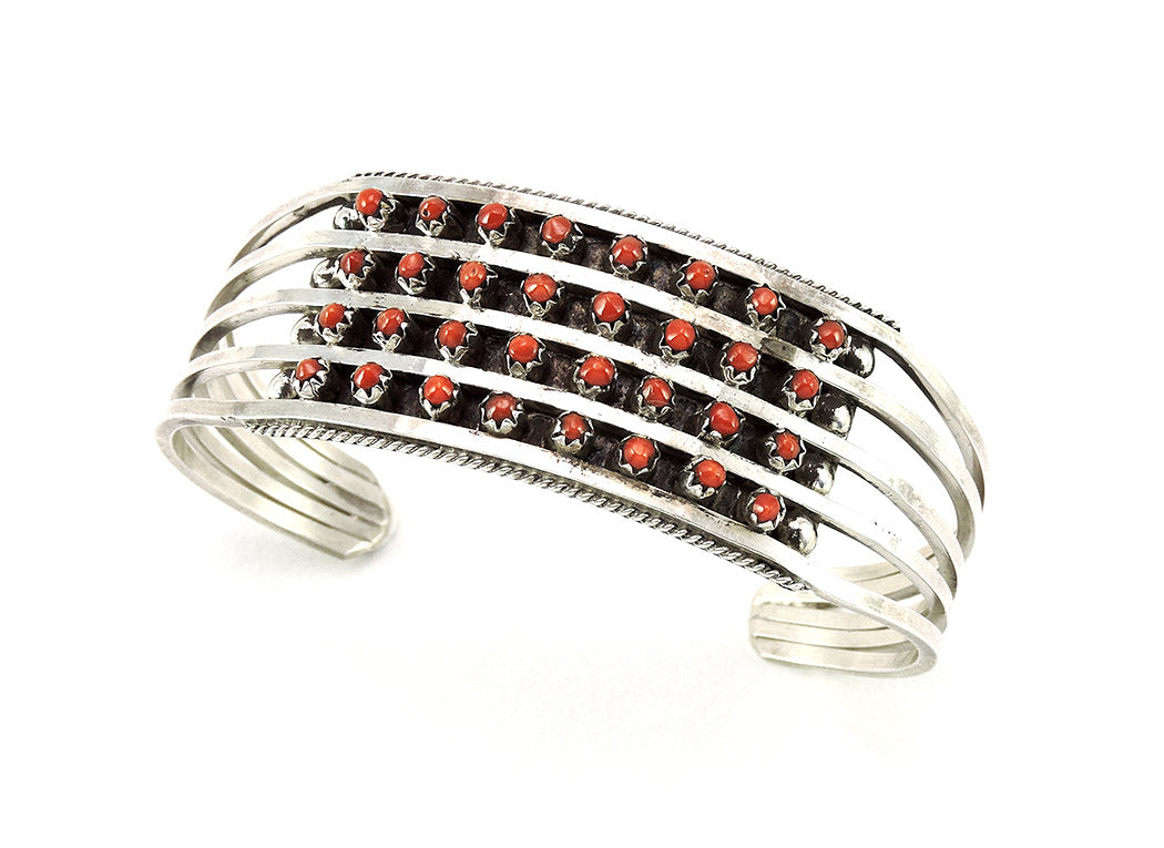 Natural Red Coral & Sterling Silver Petit Point Cuff Bracelet