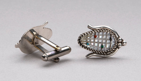 Carved Mother-Of-Pearl Corn Cuff Links