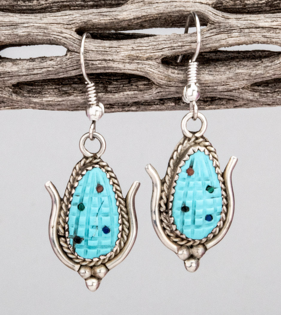 Sterling Silver & Carved Sleeping Beauty Turquoise Corn Earrings