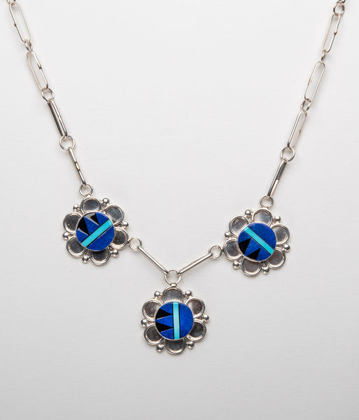 Lapis, Turquoise & Jet Inlaid Necklace