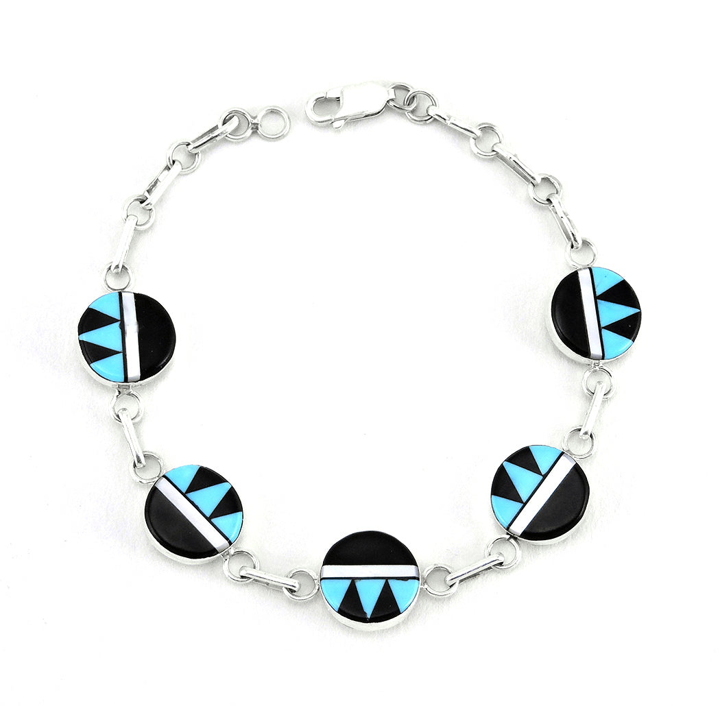 A Sterling Silver, Sleeping Beauty Turquoise, Mother-Of-Pearl & Jet Inlaid Link Bracelet