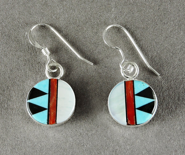 Jet, Turquoise, Red Coral & Mother-Of-Pearl Inlaid Earrings