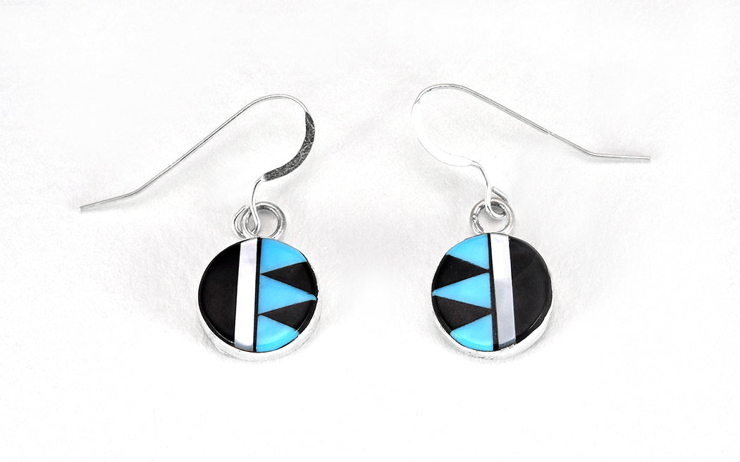 Sterling Silver, Jet, Sleeping Beauty Turquoise & Mother-Of-Pearl Inlaid Dangle Earrings