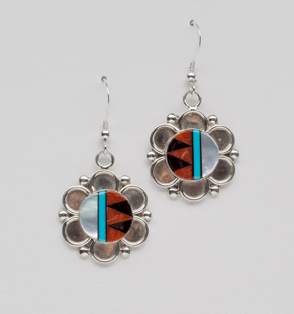 Fancy Flower Inlaid Dangle Earrings