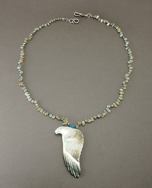Black Lip Shell Hawk Necklace With Apatite & Quartz Beads