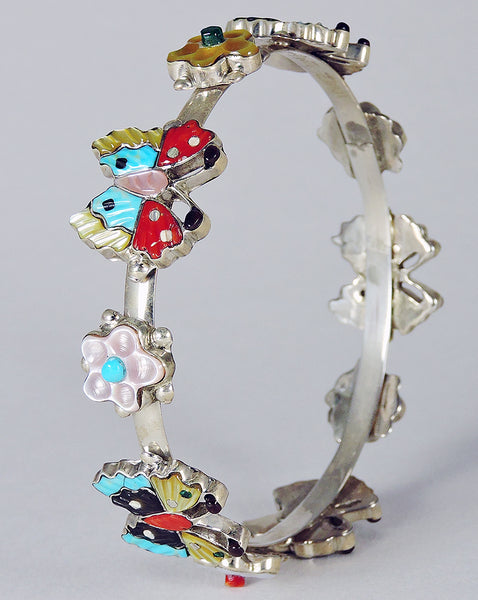 Butterfly Bangle Bracelet with Colorful Inlay