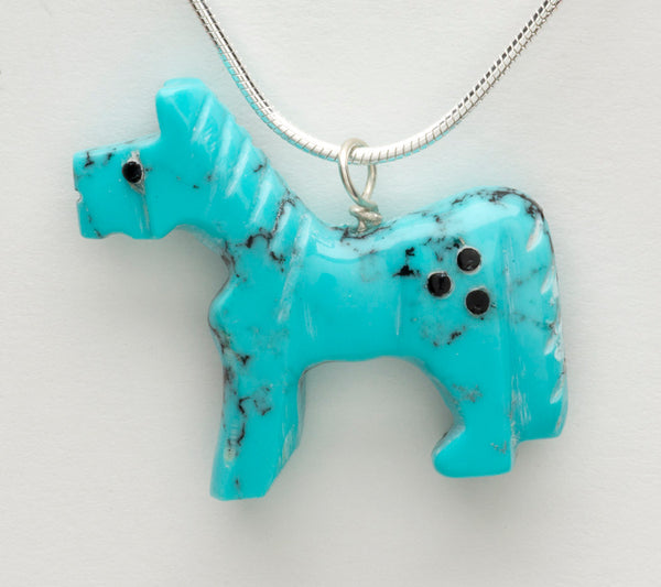 Turquoise Horse Pendant With Silver Chain Necklace