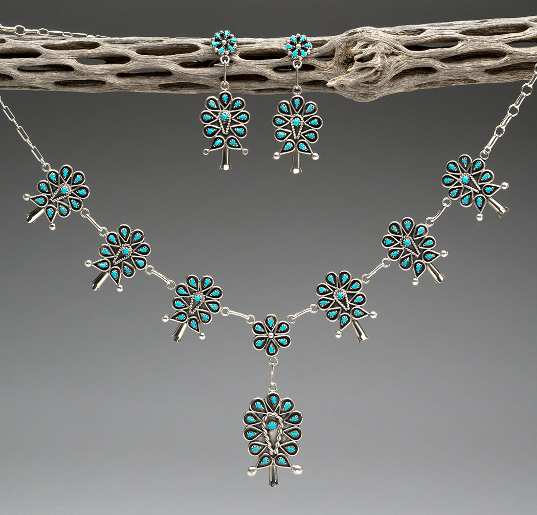 Sterling Silver & Sleeping Beauty Turquoise Petit Point Squash Blossom Necklace & Earrings Set