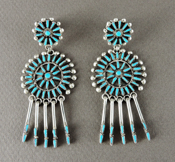 Sleeping Beauty Turquoise Petit Point Dangle Post Earrings