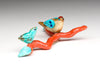 Zuni Birds On Salmon Branch Coral With Sleeping Beauty Turquoise Leaves