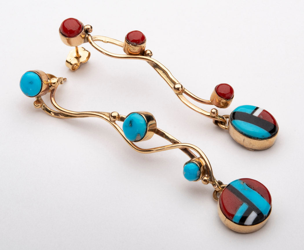 Cascading 14K Gold, Turquoise, Red Coral, Jet & Shell Earrings