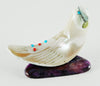 Flowing Pacific Green Snail Shell Bird On Sugilite Base